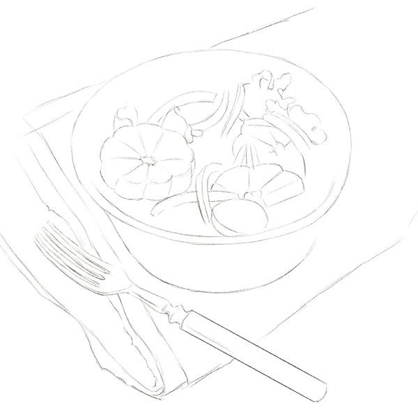 蔬菜沙拉简笔画