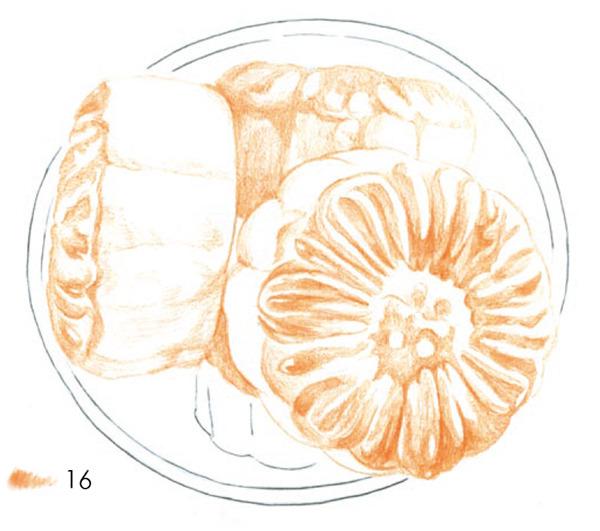 月饼彩铅画步骤图片